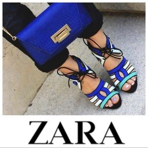 ZARA • Strappy lace up sandals